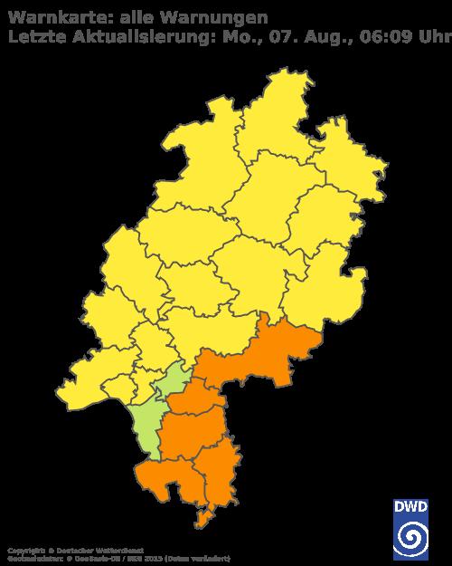 Aktuelle Wetterwarnungen für Darmstadt-Dieburg und Stadt Darmstadt